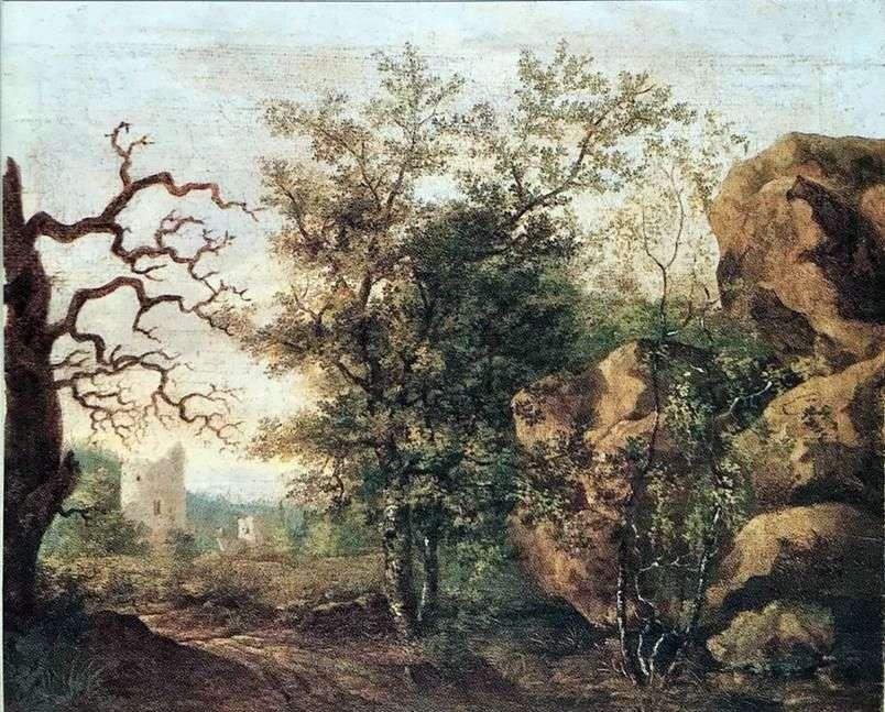 منظر طبيعي مع شجرة جافة   Caspar David Friedrich