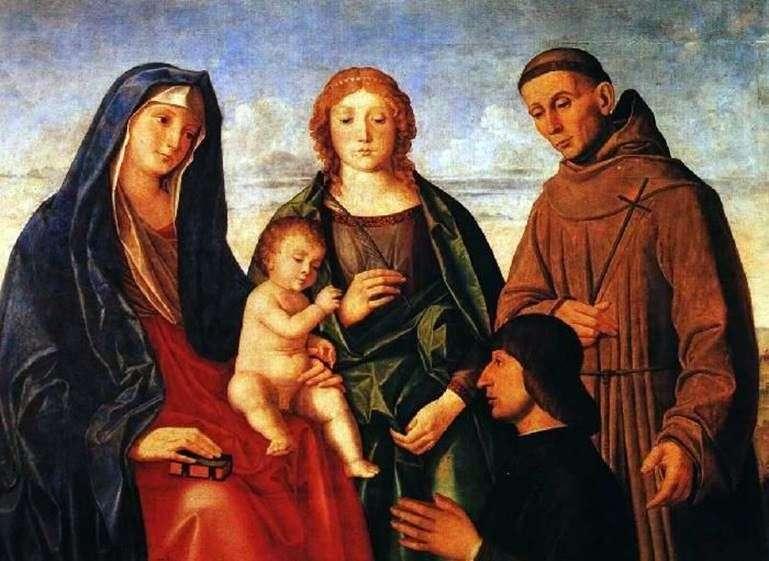 مريم مع الطفل ، القديس فرنسيس الأسيزي ، القديس والمتبرع   فينسنزو كاتينا