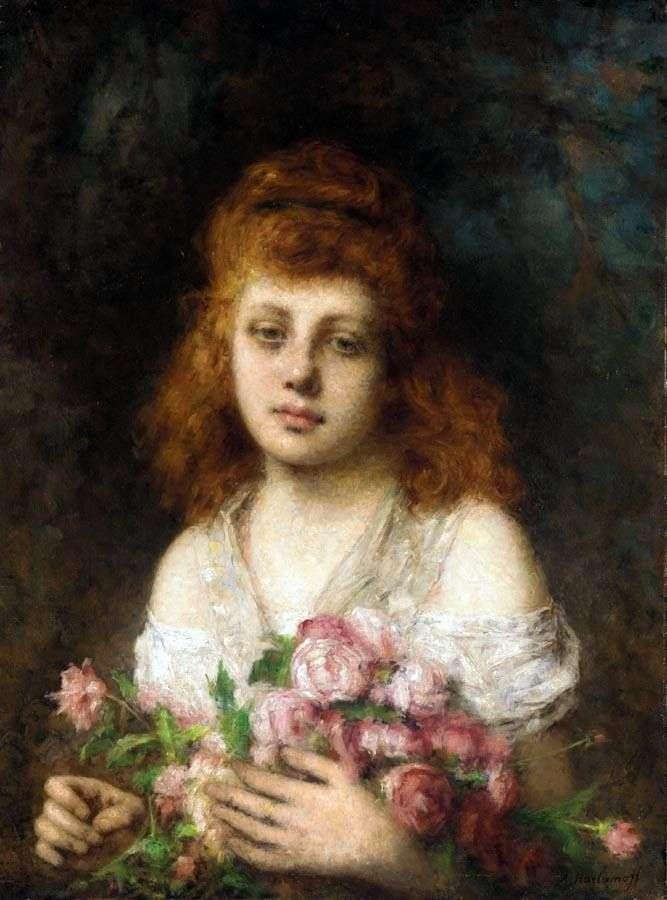 فتاة ذات شعر أحمر مع باقة من الورود   أليكسي خارلاموف