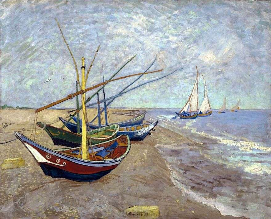 قوارب الصيد على الشاطئ من Sainte Marie   Vincent Van Gogh