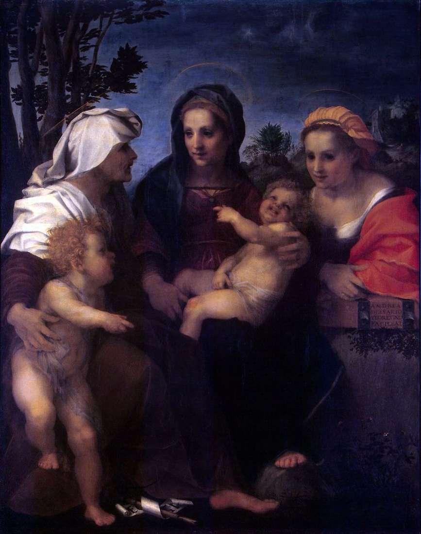 مادونا والطفل ، القديسين كاثرين ، إليزابيث وجون المعمدان   أندريا ديل سارتو