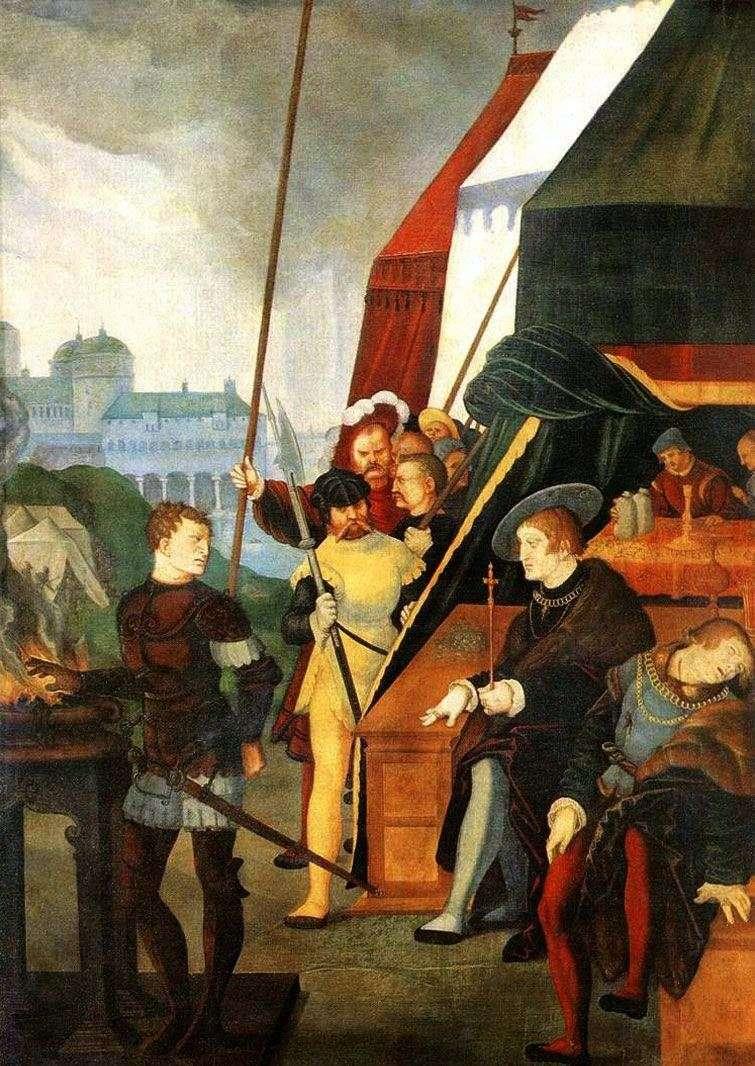 موزيو سكيفولا أمام الملك بورسين   هانز بالدونج