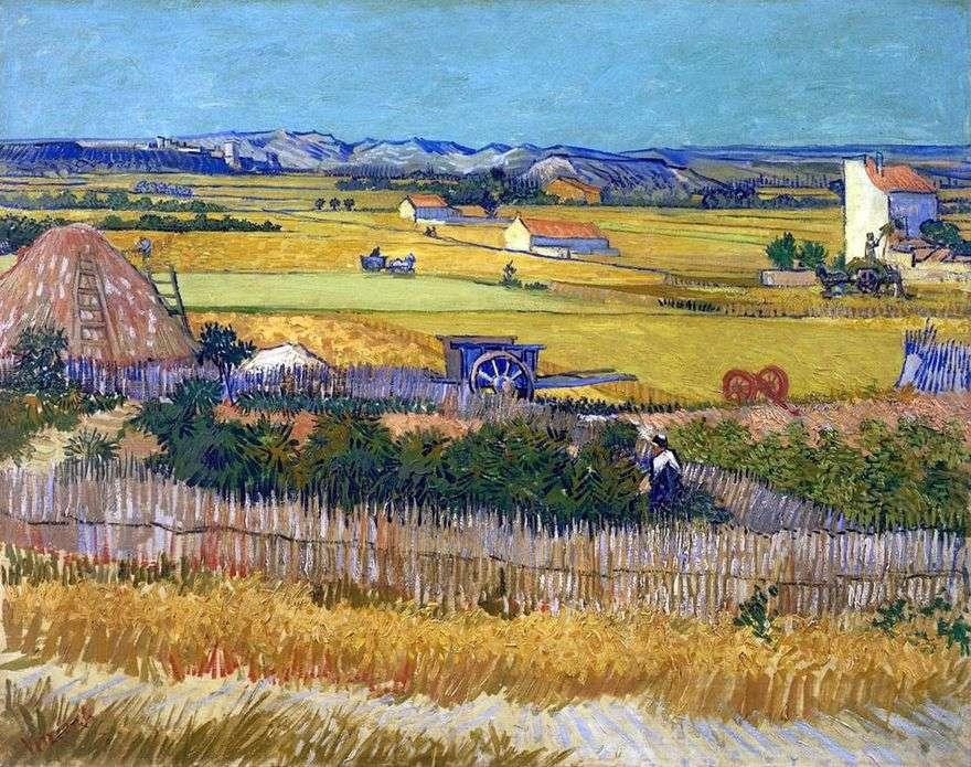 الحصاد في لاكروس ومونتماجور في الخلفية (الحصاد)   فنسنت فان جوخ