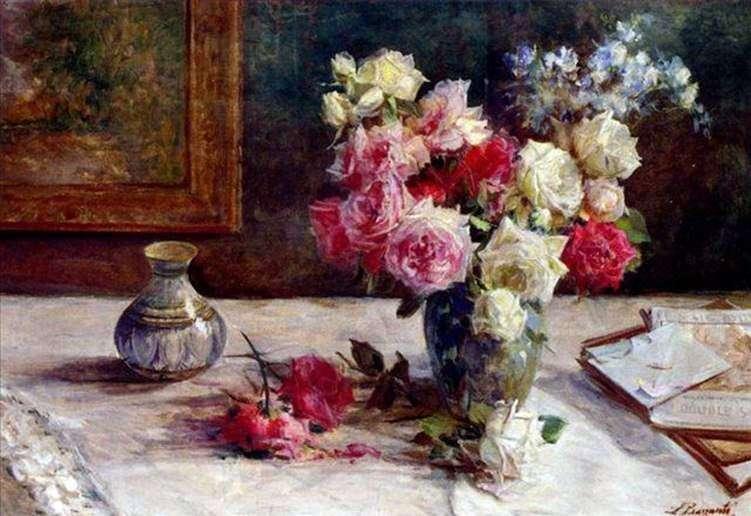 الورود في إناء وعدد قليل من الكتب على الطاولة   Licinio Barzanti