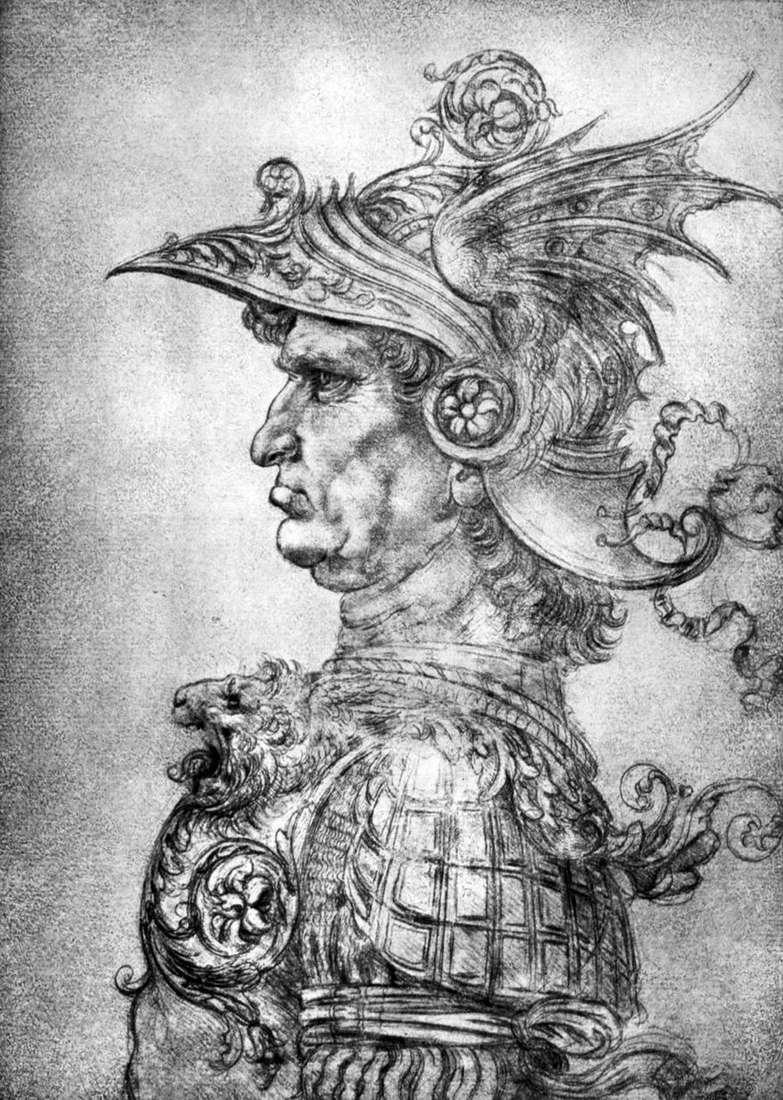 محارب يرتدي الخوذة والدروع   ليوناردو دافنشي