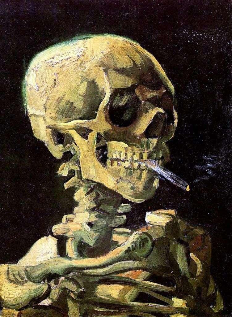 جمجمة مع سيجارة محترقة   فنسنت فان جوخ