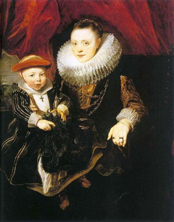 امرأة شابة مع طفل   أنتوني فان دايك