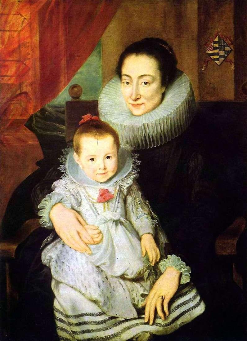 صورة لماري كلاريسا ، زوجة جان فوفيريوس ، مع طفل   أنتوني فان دايك