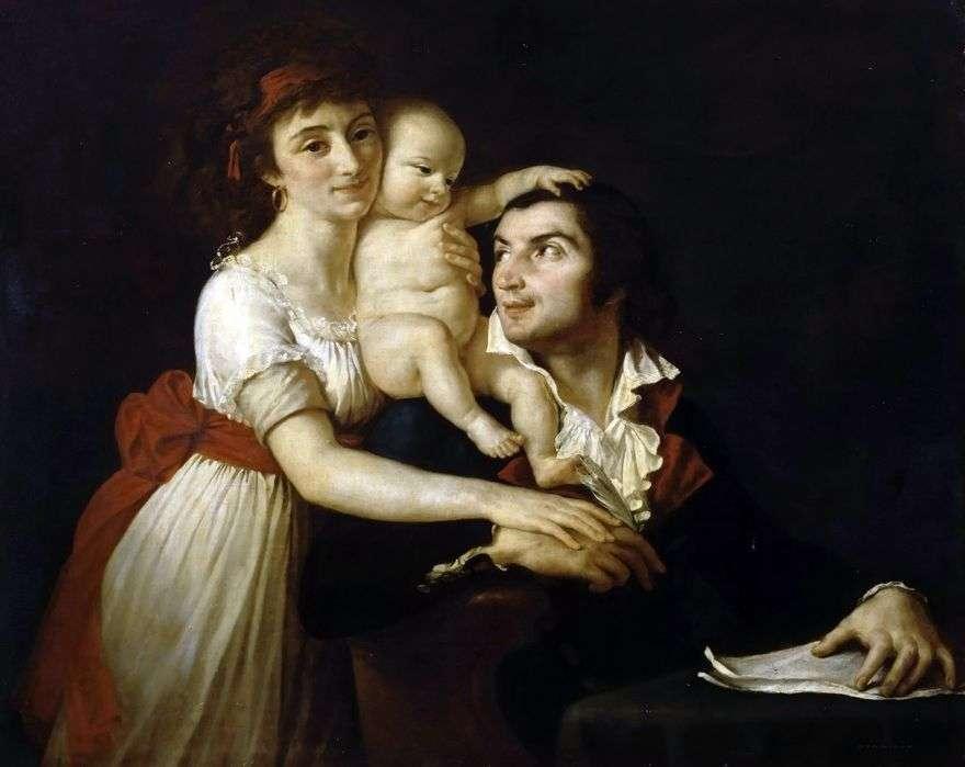 كميل ديزمولين مع الزوجة لوسي والطفل   جاك لويس ديفيد