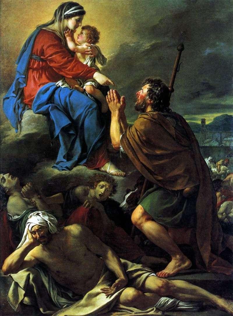 القديس روش ، الصلاة إلى العذراء من أجل شفاء الطاعون   جاك لويس ديفيد