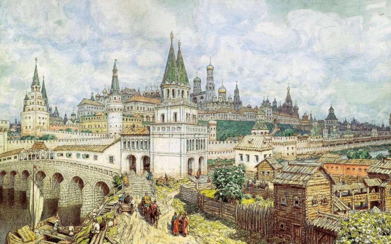 ذروة الكرملين. جسر جميع القديسين والكرملين في نهاية القرن السابع عشر   Apollinary Vasnetsov