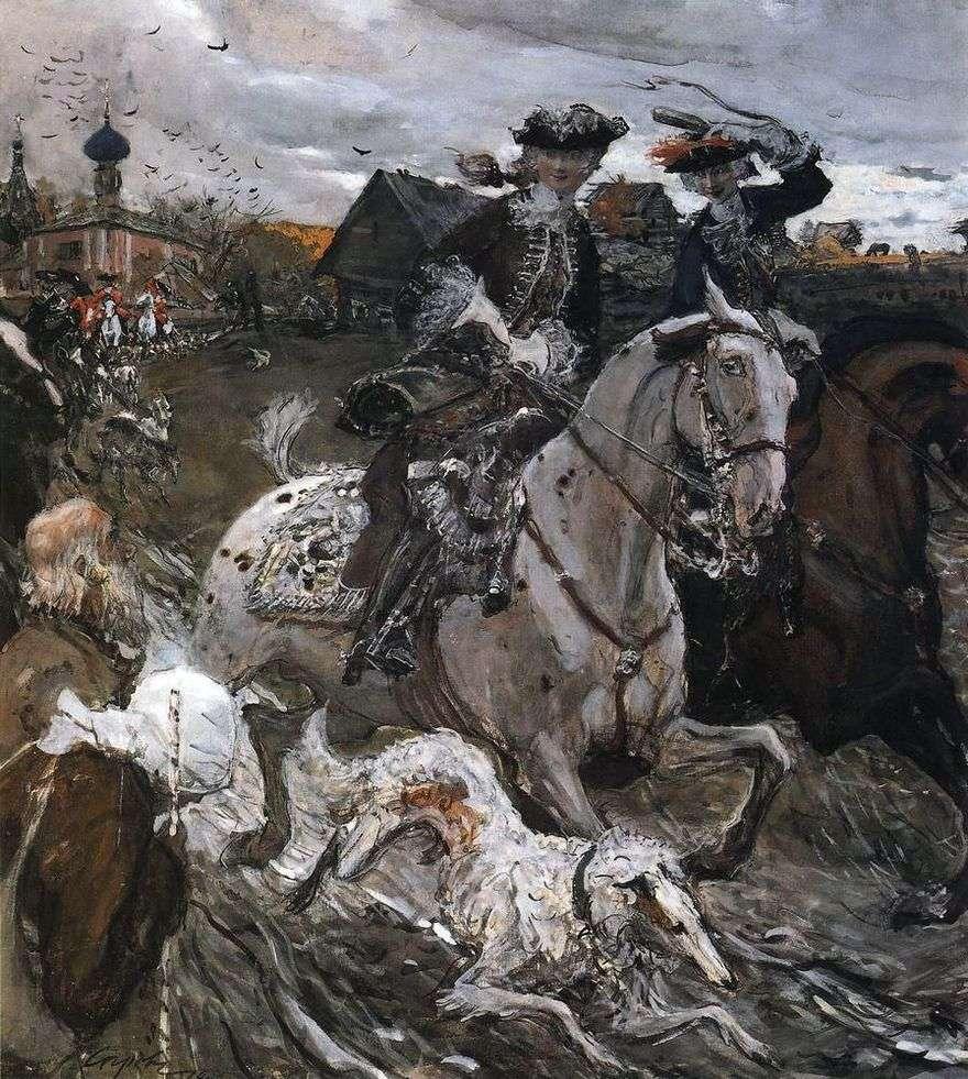 رحيل الإمبراطور بيتر الثاني وتزاريفينا إليزابيث بتروفنا إلى الصيد   فالنتين سيروف