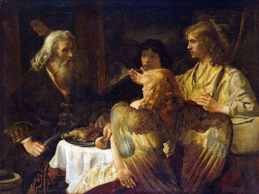 إبراهيم والملائكة الثلاثة   رامبرانت هارمنز فان راين