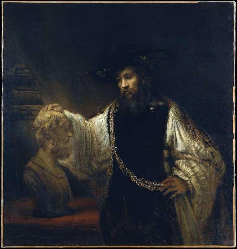 أرسطو مع تمثال نصفي لهومر   رامبرانت هارمنز فان راين