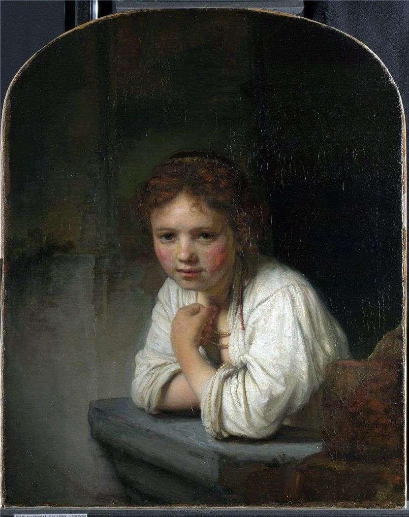 فتاة من النافذة   رامبرانت هارمنز فان راين