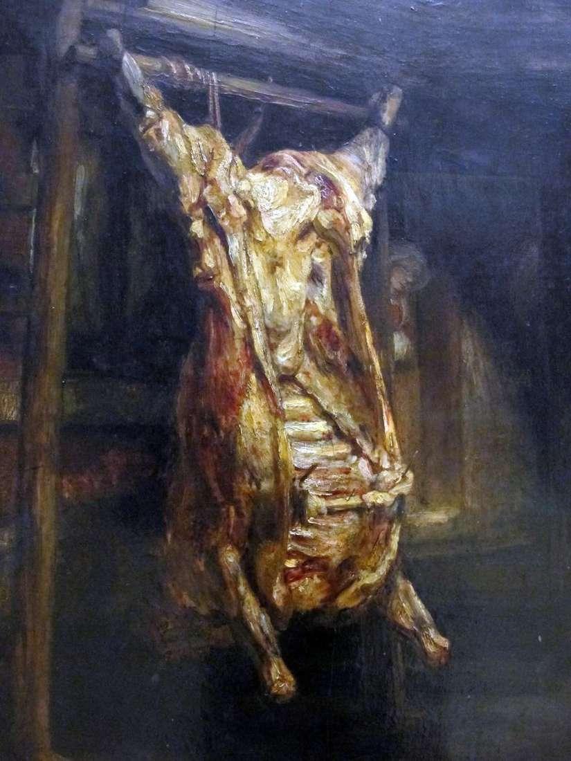 جلد الثور الذبيحة   رامبرانت هارمنز فان راين