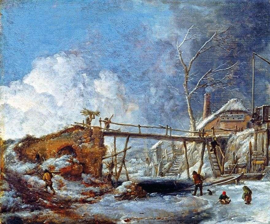 منظر شتوي مع جسر خشبي   Philips Vauverman
