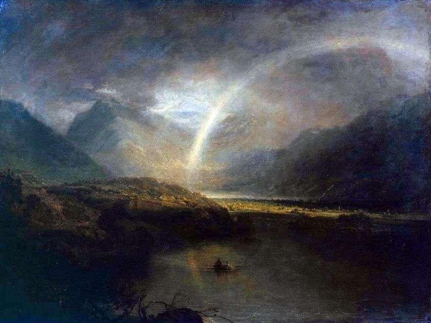 بحيرة Buttermere مع قوس قزح والمطر   وليام تيرنر