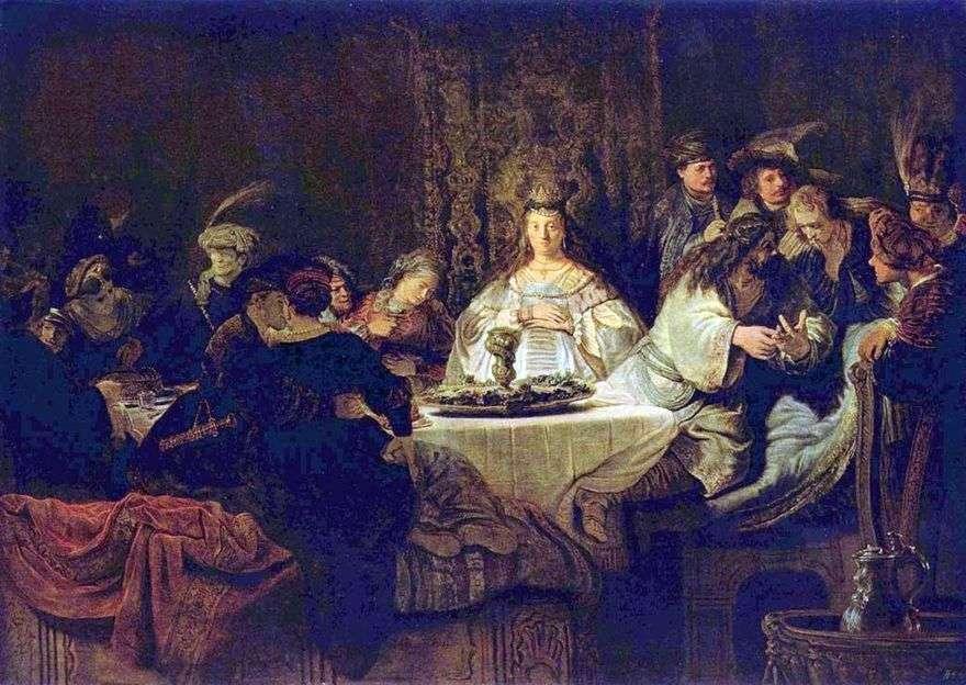 شمشون يصنع اللغز على طاولة الزفاف   رامبرانت هارمنز فان راين