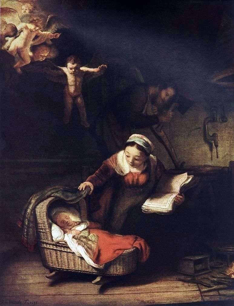 العائلة المقدسة والملائكة   رامبرانت هارمنز فان راين