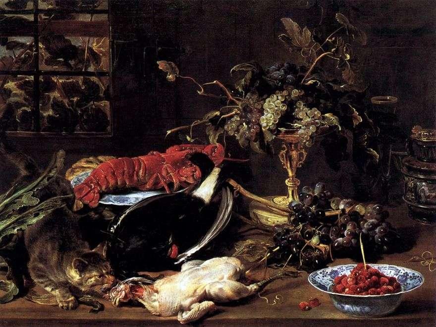 لا تزال الحياة مع القط الجائع ، جراد البحر والفواكه   فرانس شنايدر