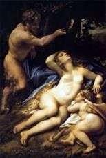 فينوس وكيوبيد ، وراءهما الإله الشرير   كوريجيو (أنطونيو أليغري)