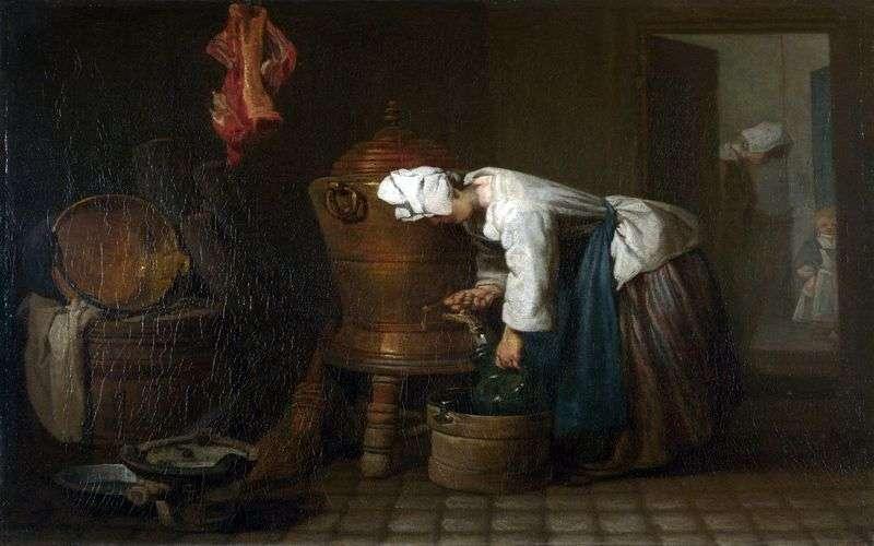 المرأة التي تصب الماء من الخزان   جان بابتيست سيمون تشاردين