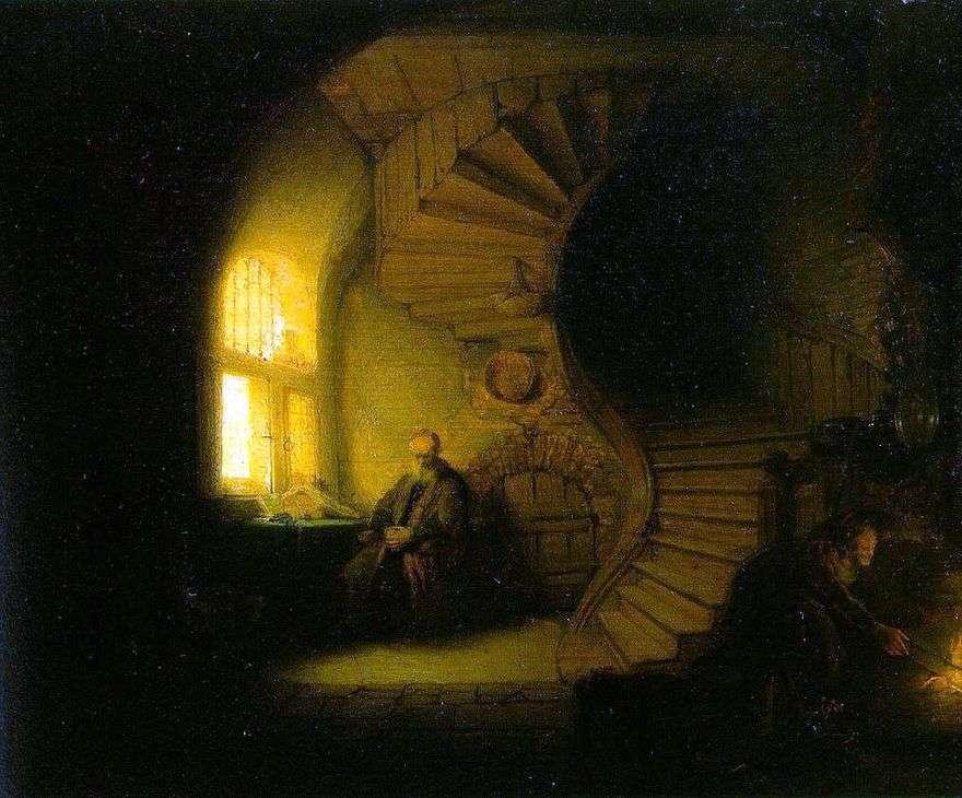 الفيلسوف التأمل في غرفته   رامبرانت هارمنز فان راين