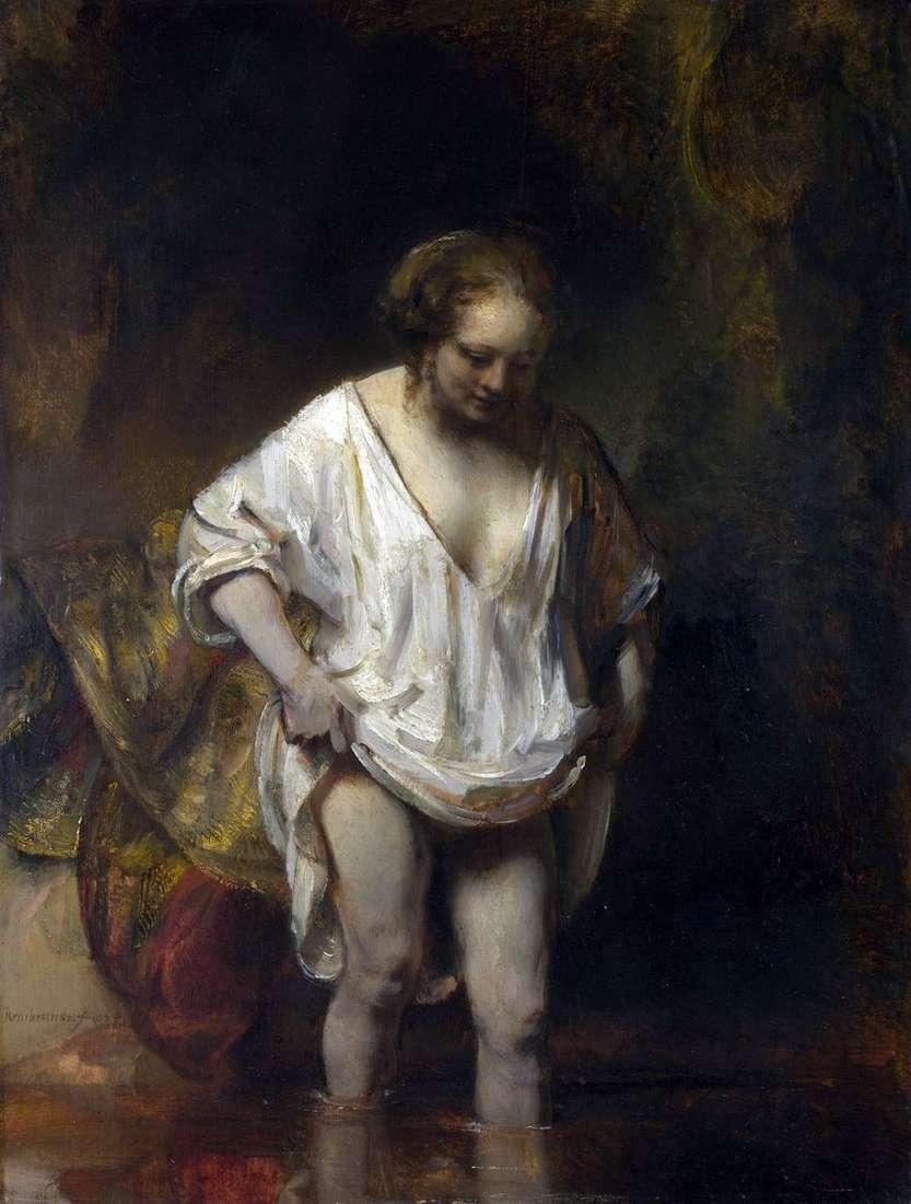 امرأة الاستحمام (هندريكجي ، تدخل النهر)   رامبرانت هارمنز فان راين