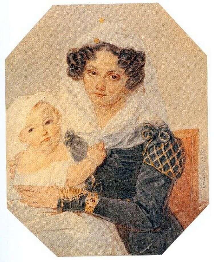 صورة فولكونسكايا ماريا نيكولاييفنا مع ابنها نيكولاي   بيتر سوكولوف