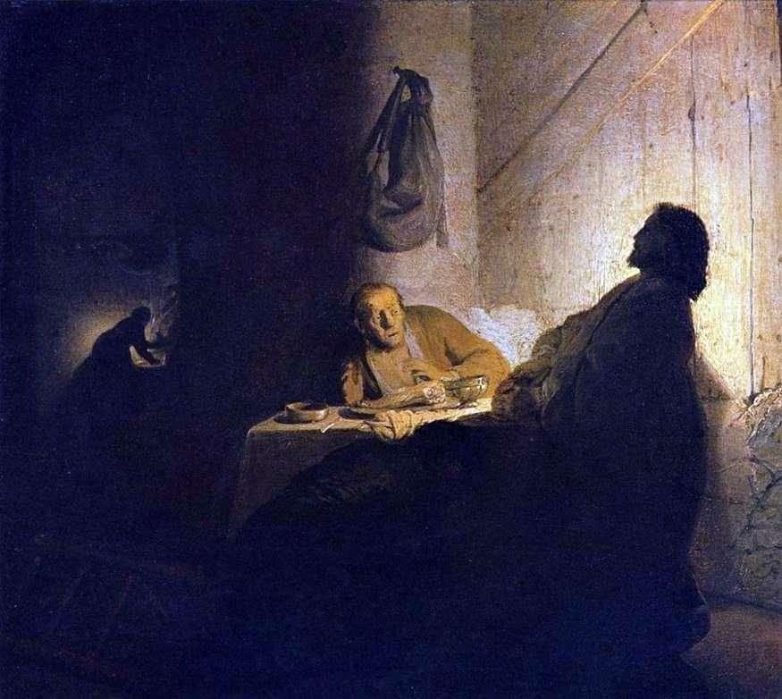 المسيح والتلاميذ في عمواس   رامبرانت هارمنز فان راين