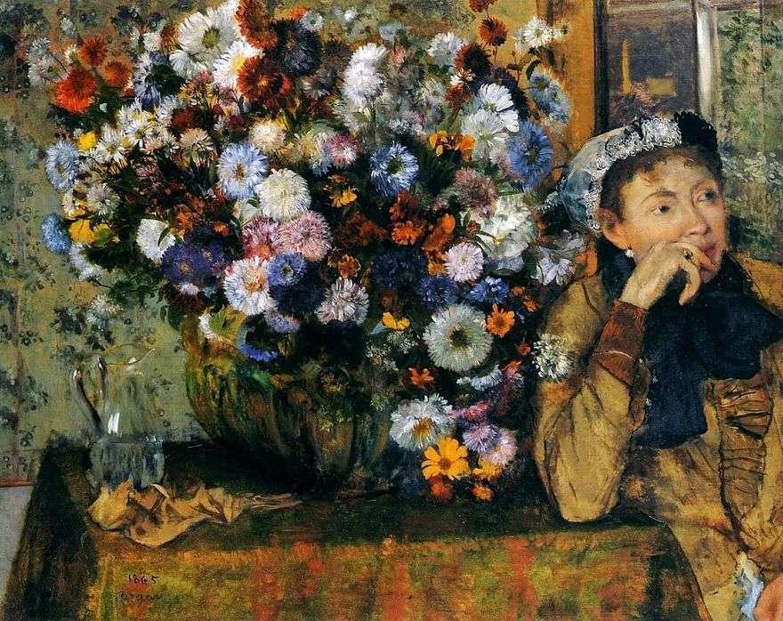 امرأة تجلس على إناء مع الزهور   إدغار ديغا