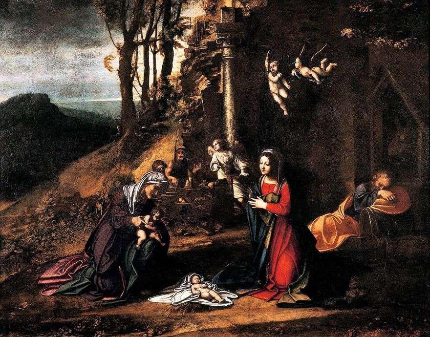 عيد الميلاد مع سانت إليزابيث والقليل يوحنا المعمدان   كوريجيو (أنطونيو أليغري)