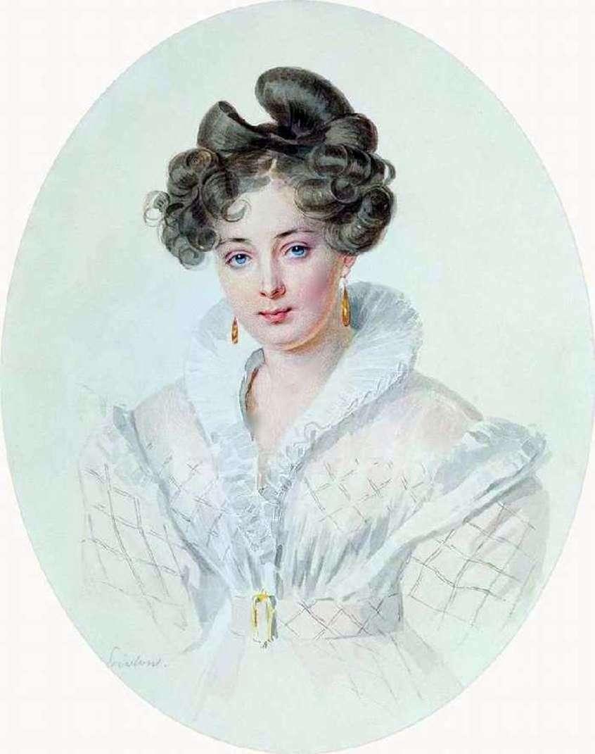 صورة لامرأة غير معروفة في ثوب أبيض (S. A. Urusova)   Pyotr Sokolov