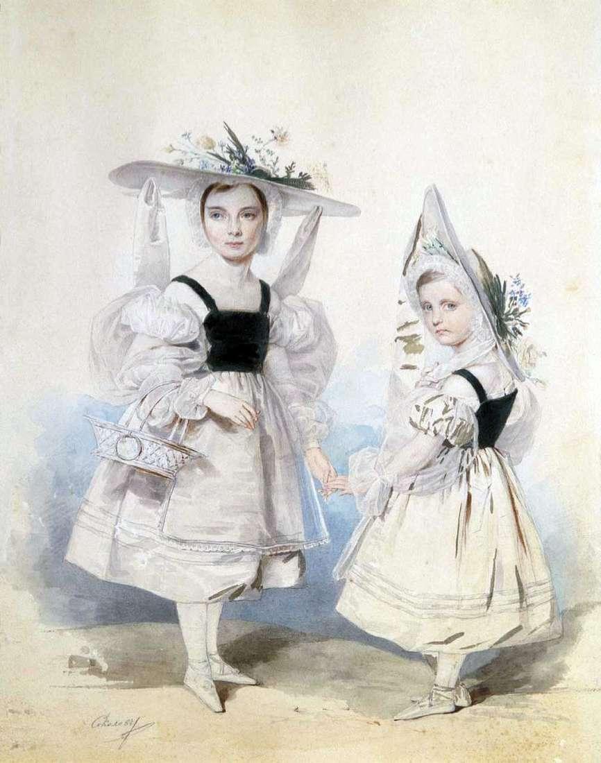 صورة لشقيقتي آنا وإيكاترينا فاسيلتشيكوف في ملابس تنكرية   بيتر سوكولوف