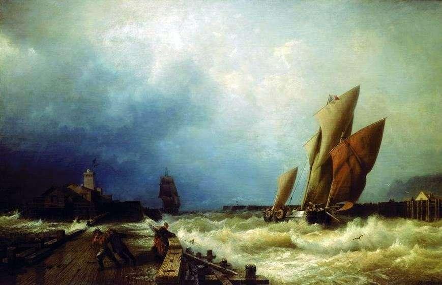 مدخل سفينة صيد إلى عاصفة في ميناء سان فاليري في شركة   أليكسي بوغوليوبوف