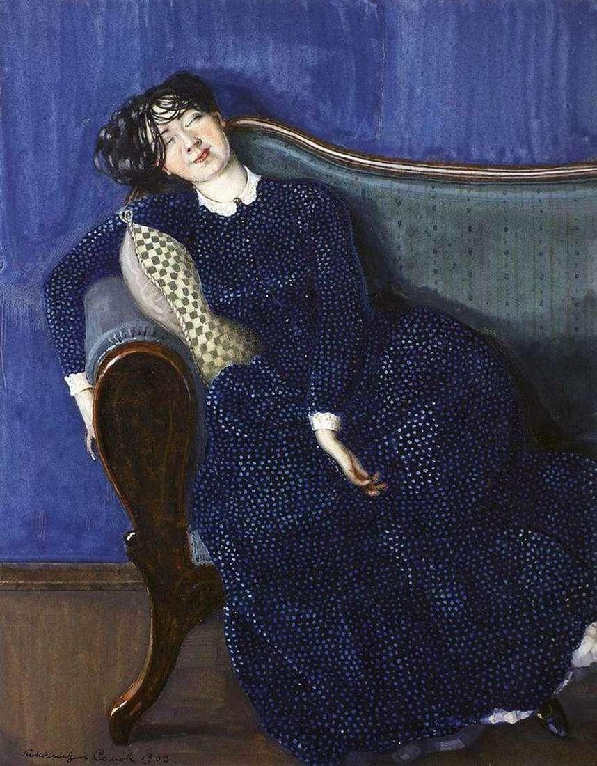 امرأة نائمة في ثوب أزرق   كونستانتين سوموف