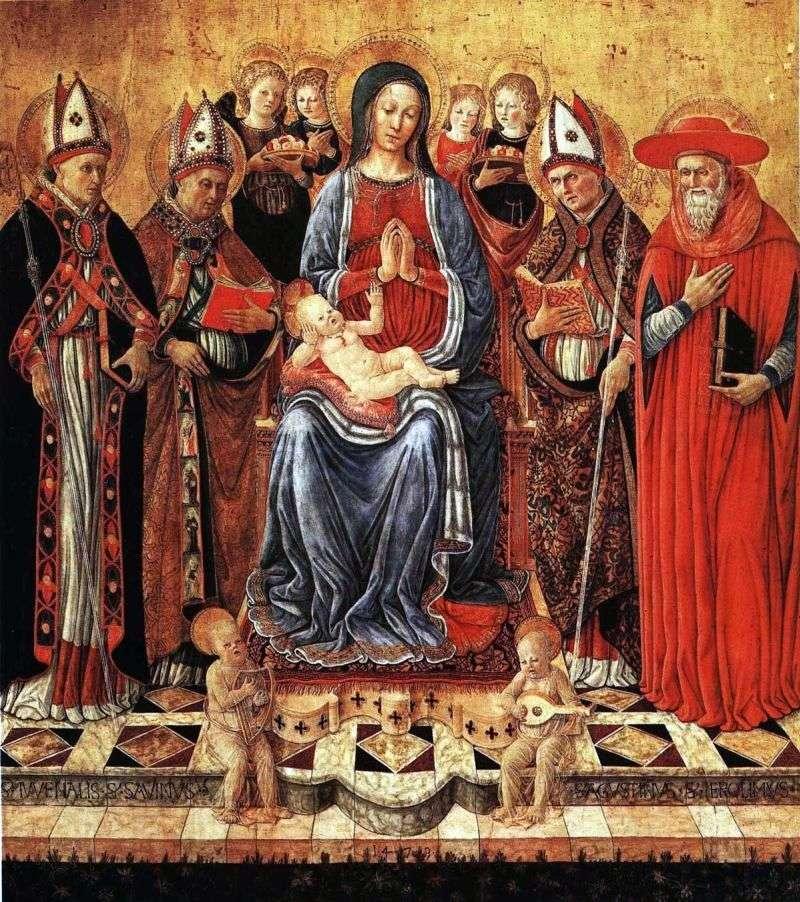 ماري مع الطفل على العرش ، وتحيط به القديسين Juvenalius ، سابين ، أوغسطين ، جيروم وستة ملائكة   جيوفاني بوكاتي