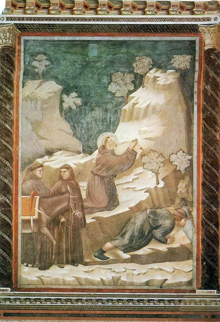 القديس فرانسيس ينضح المياه من الهاوية   جيوتو دي بوندون