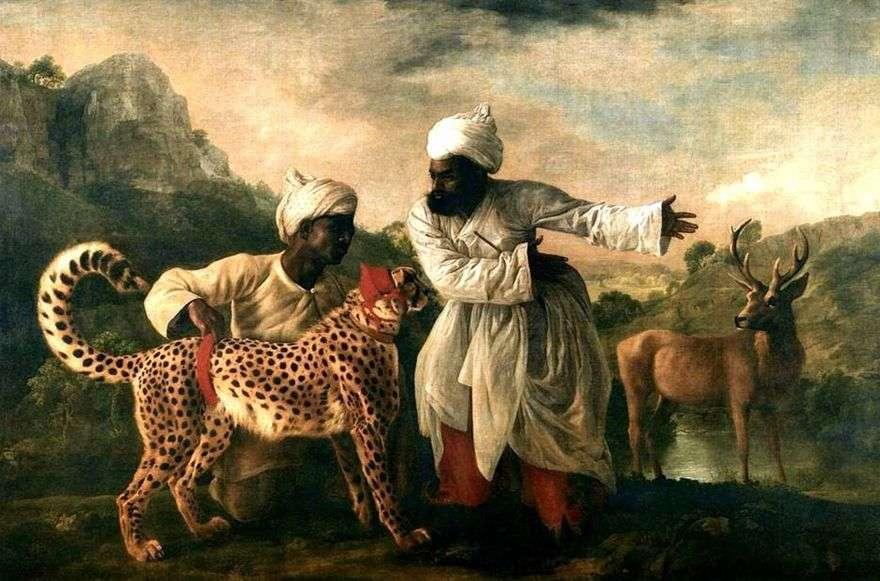 الفهد والغزلان مع اثنين من الهنود   جورج ستابس