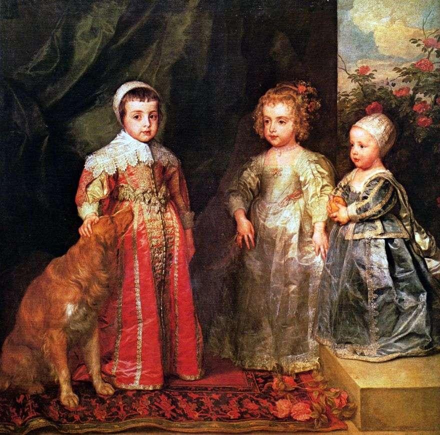 صورة لأطفال تشارلز الأول الثلاثة الأكبر   أنتوني فان دايك
