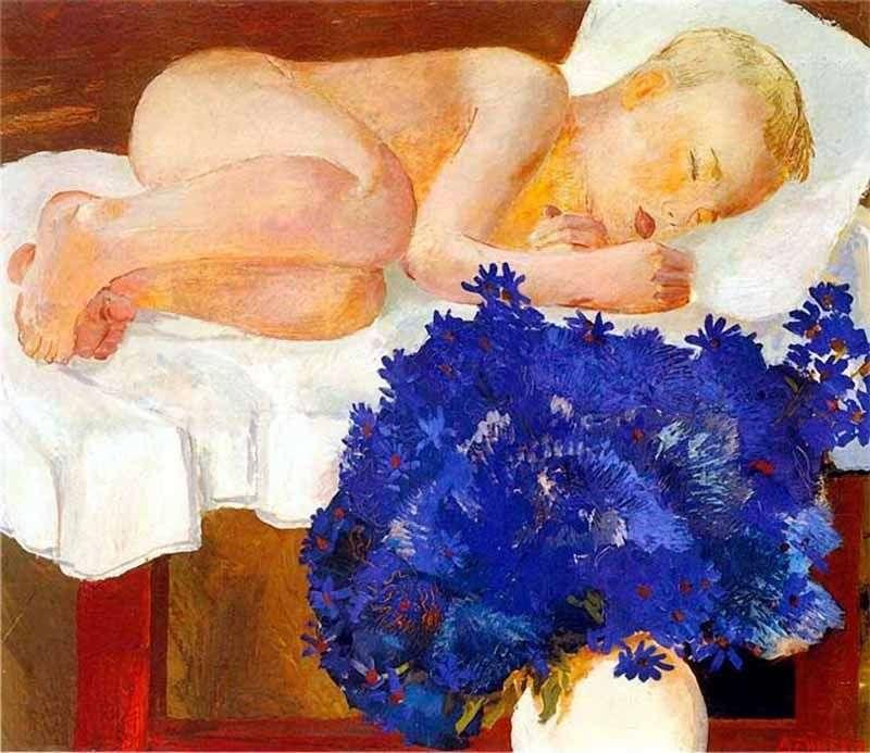 طفل نائم مع زهور الذرة   الكسندر دينيكا