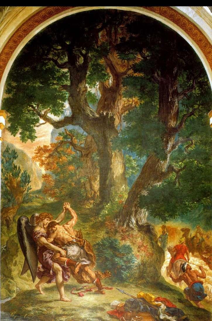 مصارعة يعقوب مع الملاك   يوجين ديلاكروا
