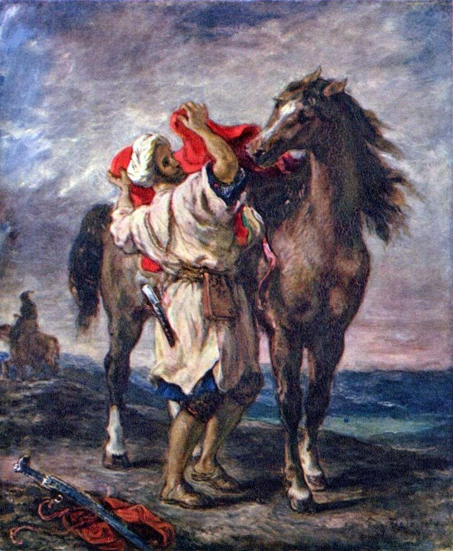 مغربي يركب حصانًا   يوجين ديلاكروا
