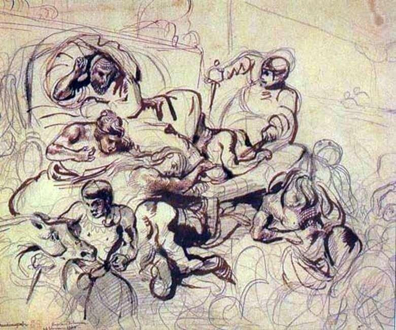 رسم للرسم وفاة ساردانابالا   يوجين ديلاكروا