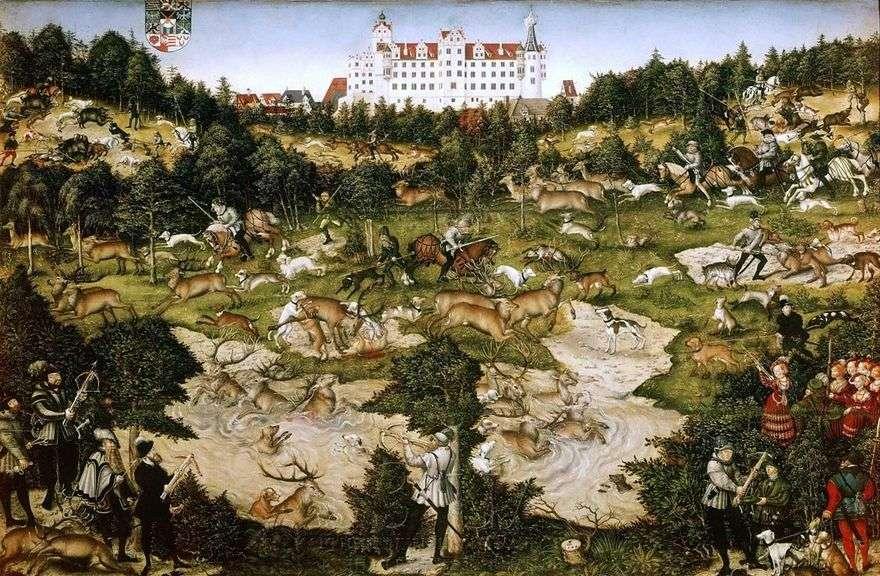 الملك تشارلز الخامس الغزلان الصيد بالقرب من قلعة تورجاو   Lukas Cranach