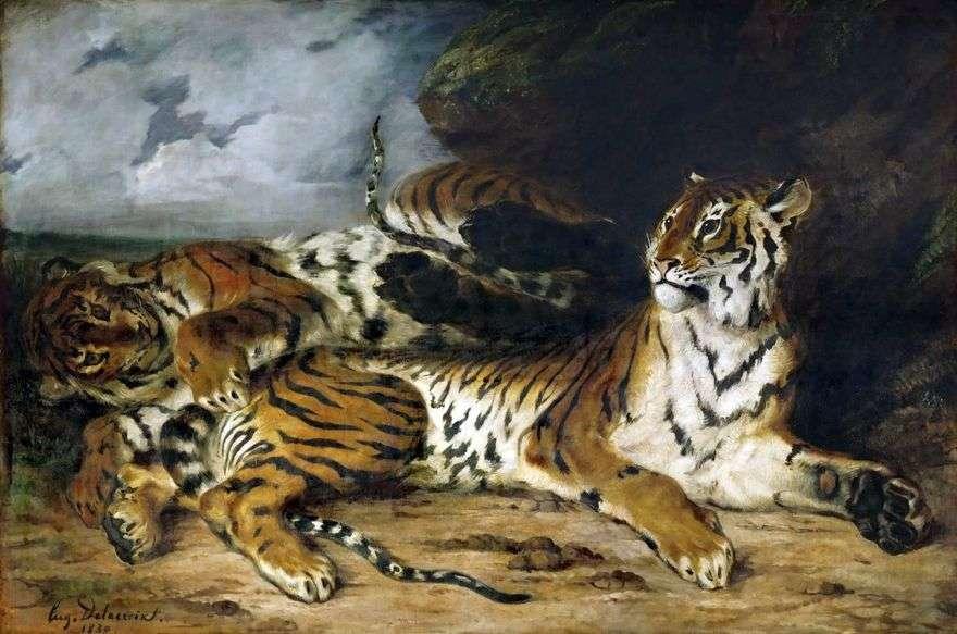 نمر الشبل يلعب مع والدته   يوجين ديلاكروا