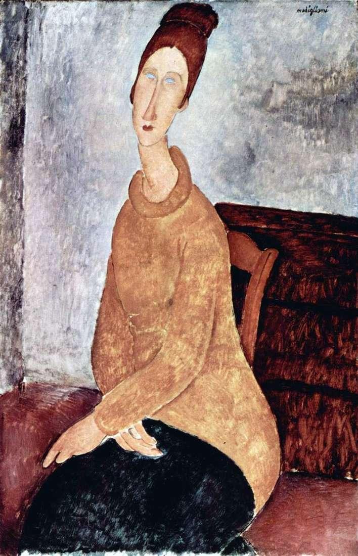 جين هيبيرن في سترة صفراء   أميديو موديجلياني