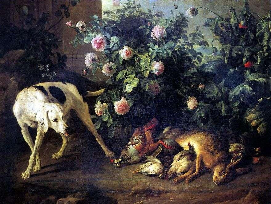 لا تزال الحياة مع كلب ولعبة الخفافيش في rosebush   فرانسوا ديبورت