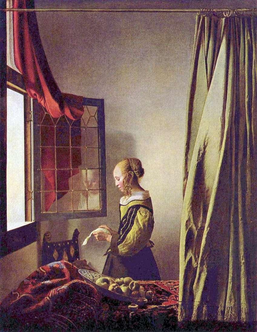 فتاة تقرأ رسالة من النافذة المفتوحة   جان فيرمير
